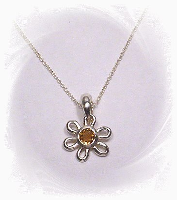 Sterling Silver Citrine Necklace and Pendant