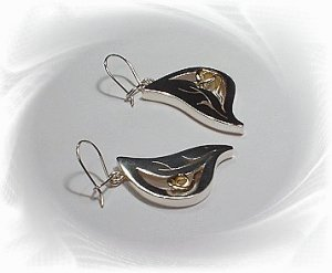 Artisian Handcrafted Designer Sterling Silver Leaf Dangle Earrings With 14K Gold Rose