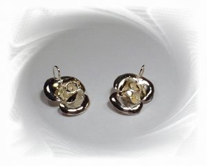 Artisian Handcrafted Designer Sterling Silver Rose Earrings With 14K Gold Deco