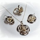 Artisian Handcrafted Designer Sterling Silver Rose Ring, Earring and Pendant Set