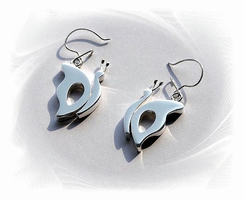 Artisian Handcrafted Designer Sterling Silver Butterfly Dangle Earrings