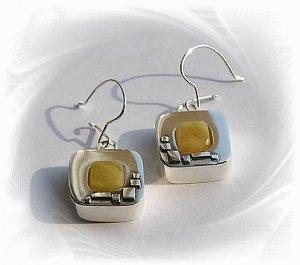 Artisian Handcrafted Designer Sterling Silver Amber Dangle Earrings