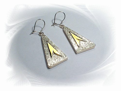 Artisian Handcrafted Designer Sterling Silver Large Triangle Dangle Earrings With 14k Gold Deco