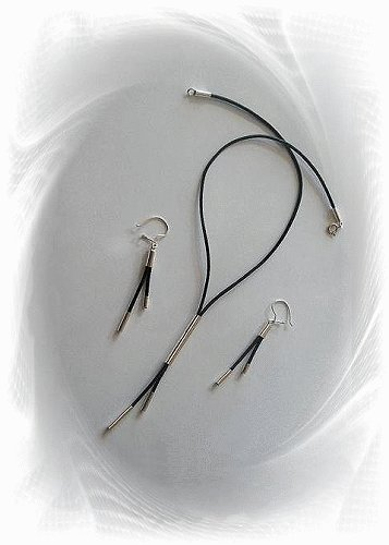 Artisian Handcrafted Designer Sterling Silver Black Lariat Cord Necklace Set
