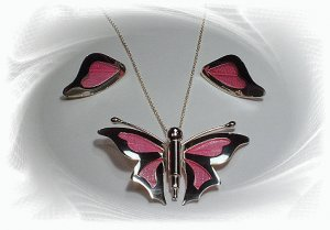 Artisian Handcrafted Designer Sterling Silver Pink Butterfly Pendant and Earrings Set