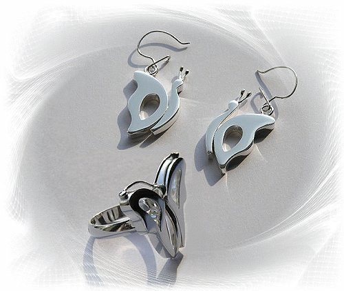 Artisian Handcrafted Designer Sterling Silver Butterfly Earrings and Ring Set