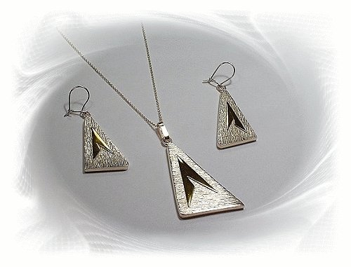 Artisian Handcrafted Designer Sterling Silver Triangle Earrings and Pendant Set