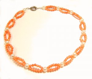 Artisian Handcrafted Designer Salmon Coral Bead Necklace With Freshwater Pearls