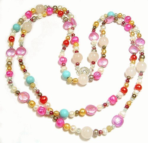 Artisian Handcrafted Designer Multi Color Freshwater Pearl Necklace
