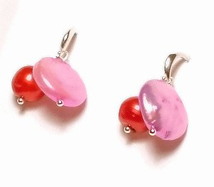 Artisian Handcrafted Designer Pink Shell And Red Freshwater Pearl Earrings