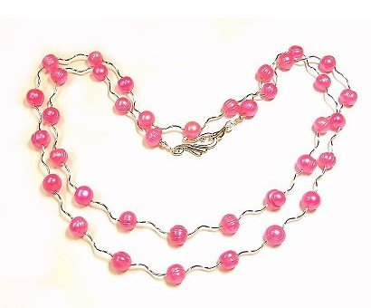 Artisian Handcrafted Designer Sterling Silver and Pink Freshwater Pearl Necklace
