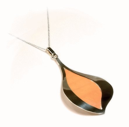 10 Sterling Silver Pendant With Orange Decoration, Wholesale