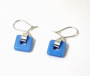 Artisian Handcrafted Designer Sterling Silver Blue Dangle Earrings