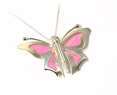 Artisian Handcrafted Sterling Silver Pink Butterfly Pendant