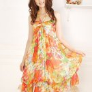 Bohemian Dress Floral Chiffon Tube Dress Halter neck womens dress