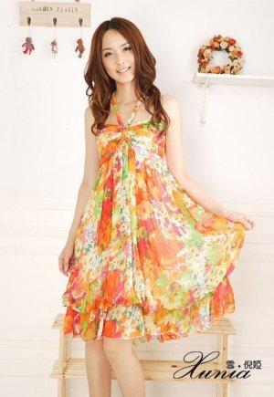 Bohemian Dress Floral Chiffon Tube Dress Halter neck womens dress