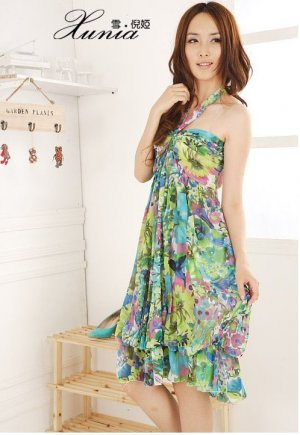 Bohemian summer Floral Chiffon Tube Dress Halter neck womens green
