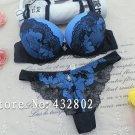 Sexy Lace Push Up Bra Panty sets ROYAL BLUE Romantic Intimate Women's Underwear