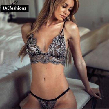 Women's Underwear Bra Set Sexy Lace Brassiere Thongs Panties Briefs Bras Sets medium