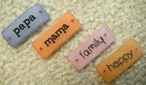 Scrapbooking Embellishments Papa, Mama, Family, Happy Jellies