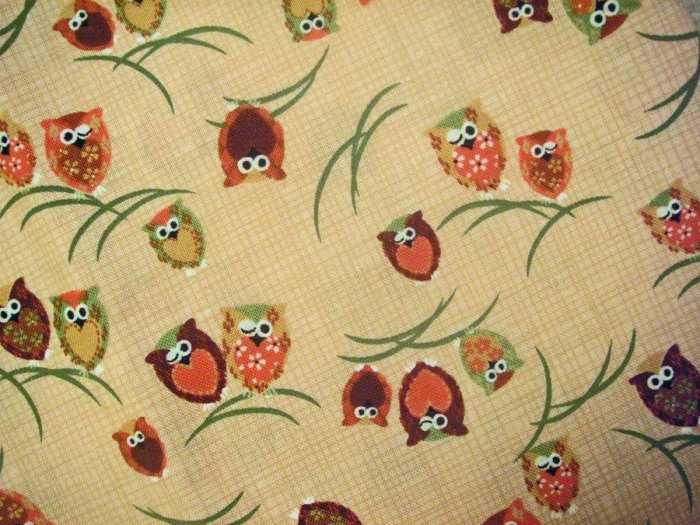 Winking Owls on Brown - Fabric Fat Quarter