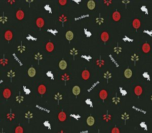Hopping White Bunnies in Red and Green Forest on Black- Fabric Fat Quarter