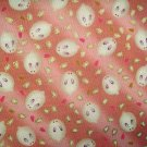 Cute Bunnies on Pink- Cotton Fabric Fat Quarter