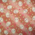 Cute Bunnies on Pink- Cotton Fabric Fat Quarter