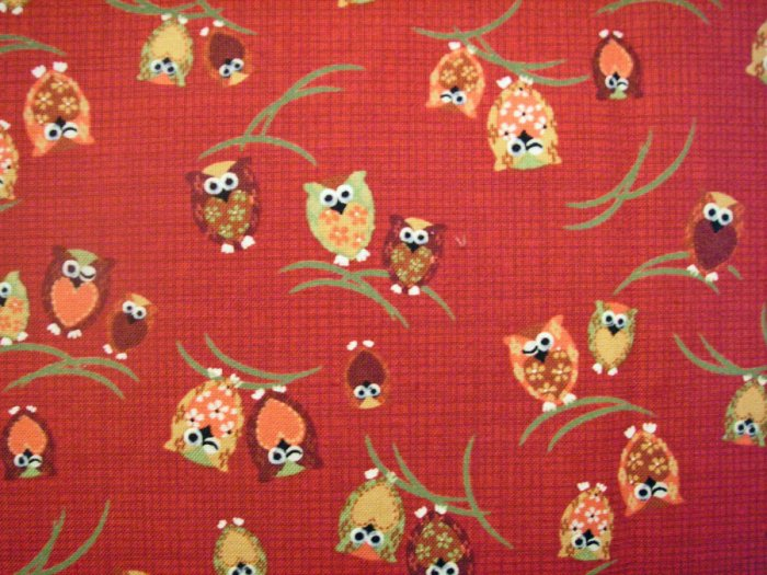 Winking Owl on Red - Cotton Fabric Fat Quarter