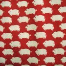 White Pigs on Red - Japanese Cotton Fabric Fat Quarter
