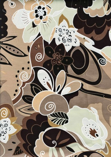 Retro Flowery Leaves - Cotton Lycra Fabric Fat Quarter