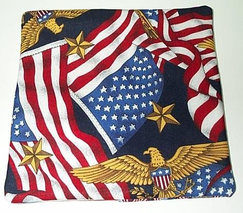 Red White Blue Patriotic Potholder with Decorative Back  Handmade 601205--3