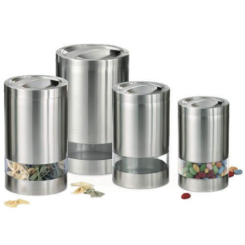 4 pc. Stainless Steel Window Canister Set