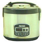 Aroma Cool-Touch Digital 10-Cup Rice Cooker and Food Steamer (stainless)