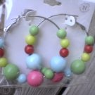 New 1980's Retro Earrings Multi Colored Plastic Beaded Hoops