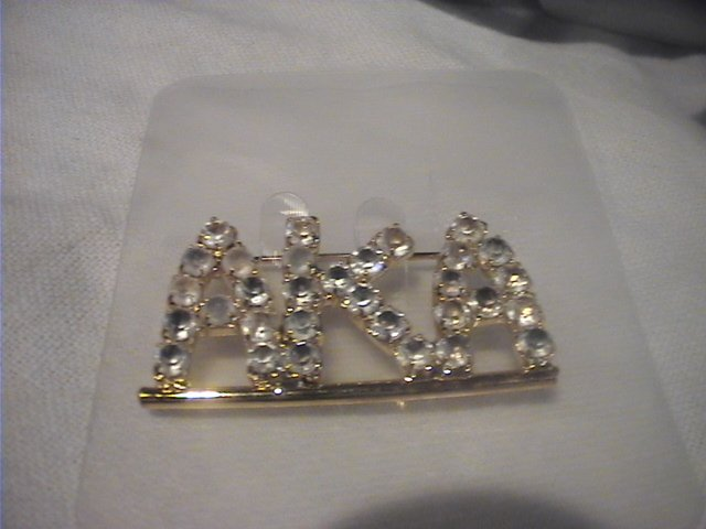 NEW AKA Alpha Kappa Alpha Gold Rhinestone Crystal Pin