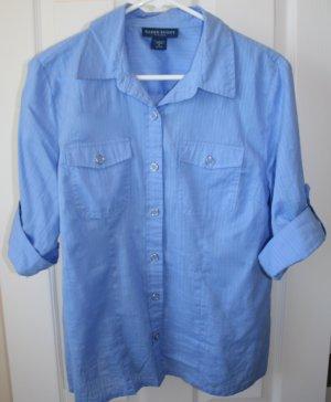 Karen Scott Petite Blue Dress Shirt Large