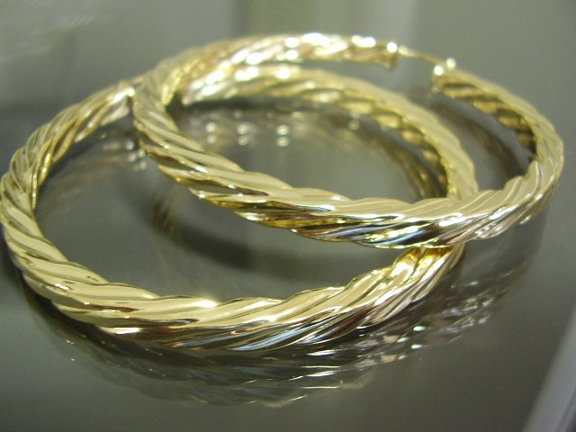 "2.5"" ROPE TWIST TWISTED 18k gold gf hoop earrings NW"