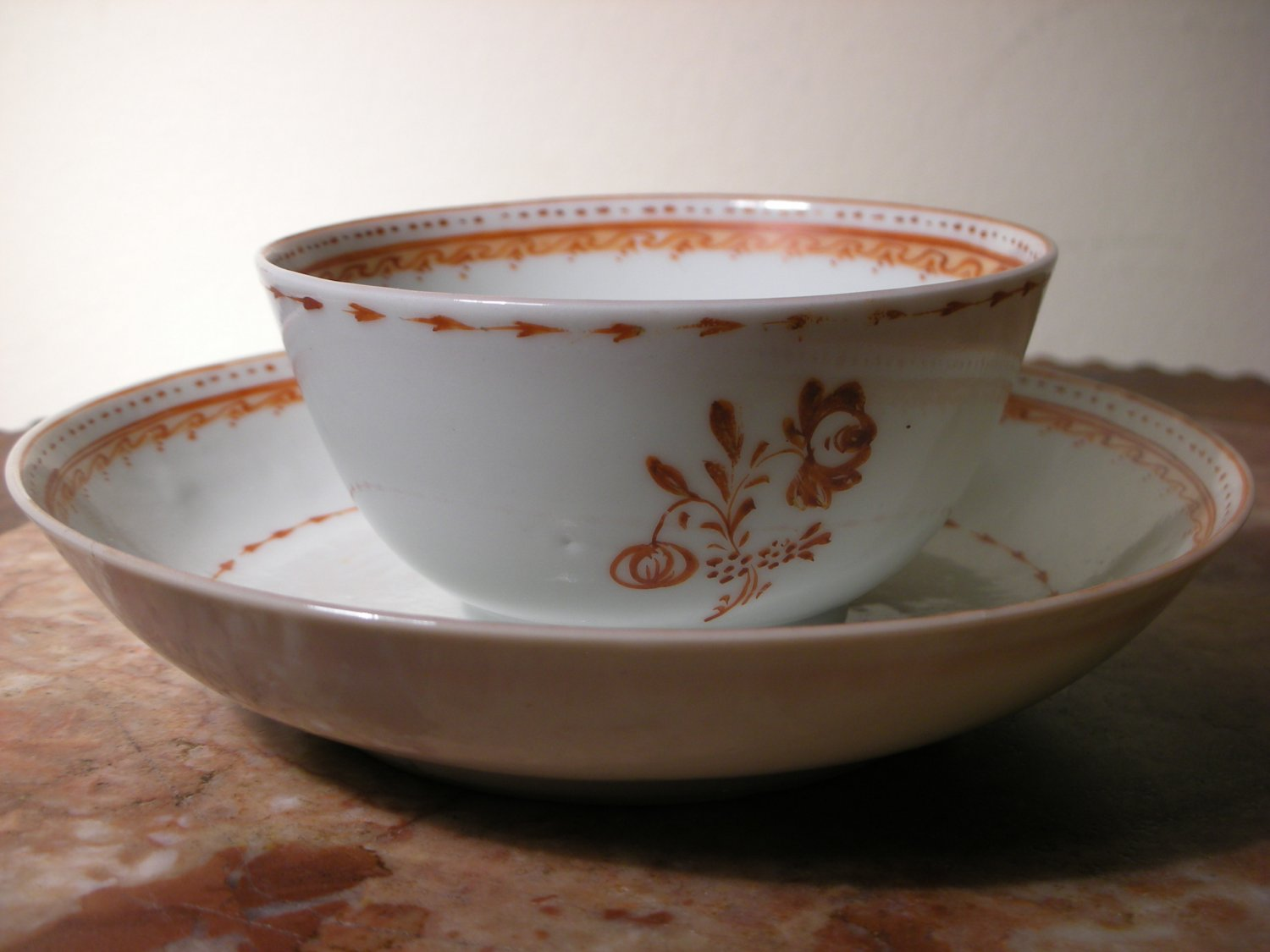 Antique Chinese Export Porcelain Cup & Saucer (Handpainted)