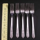 "Five Vintage Oriental Korean Silver Forks Marked ""銀"" (L: 18.5cm)"