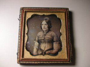 Antique Daguerreotype Photograph of a Girl - Curly Hair with Manly Nose