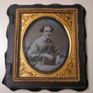 Antique Chase Daguerreotype Photograph of a Woman with Book (Union Case)