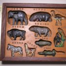 Vintage England Johillco Animal Figurine Toy Set (10pcs with Wooden Box)