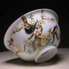 Vintage Chinese Porcelain Relief Bowl with Birds & Flowers (D: 6-1/4&quot;)