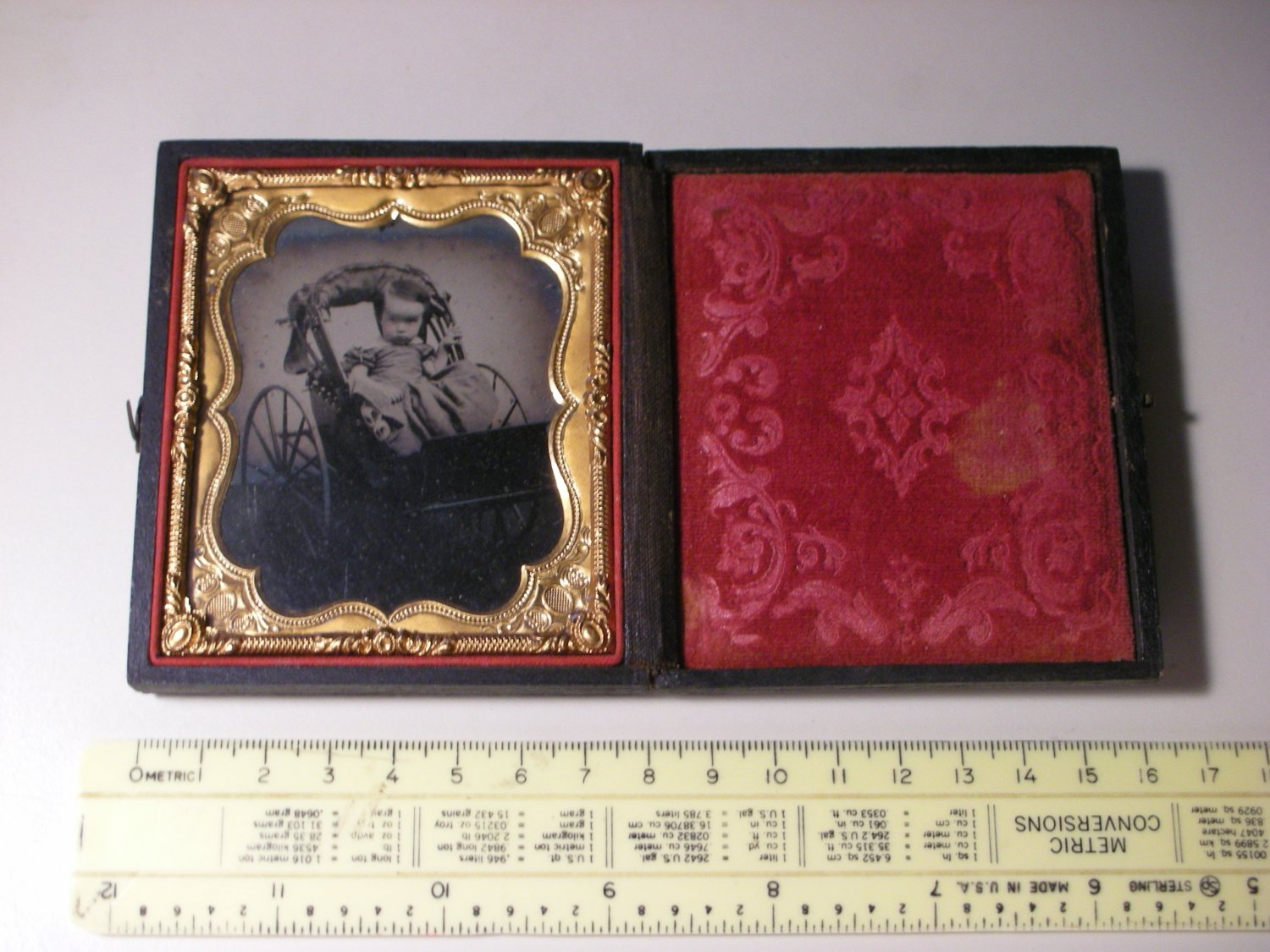 Antique Ambrotype Photograph of Little Girl in Carriage