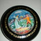 Vintage USSR Russian Folk Art Mctepa Mstera Lacquer Round Wood Box