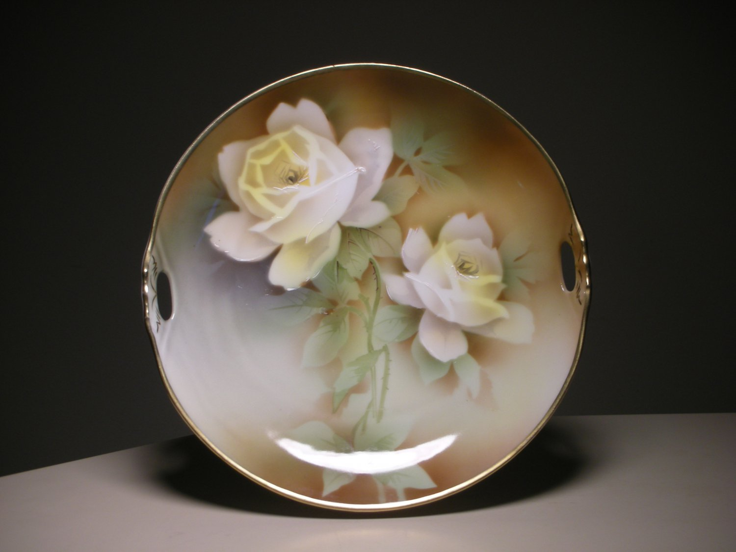 """Vintage German Weimar Porcelain Plate with Handles (D: 9-1/2"""" inches)"""