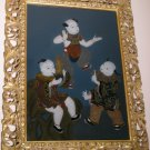 LOCAL PICKUP ONLY - 20thc Chinese Glass Reverse Painting Framed - Children & Music