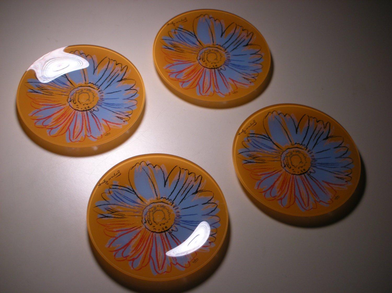 Andy Warhol Rosenthal Studio Line Daisies Salad Dessert Glass Plate (4 PCS)