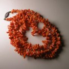 Vintage Orange Red Coral Necklace w/ Sterling Silver Clasp Hook